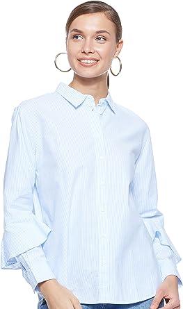 TALLA 38. Tommy Hilfiger Pames Frill Blouse LS Blusa para Mujer