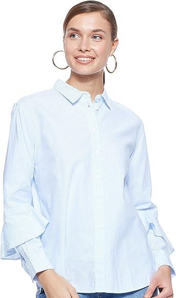 Tommy Hilfiger Pames Frill Blouse LS Blusa, Multicolor (Ithaca STP/Heather 417), 36 (Talla del Fabricante: 34) para Mujer: Amazon.es: Ropa y accesorios