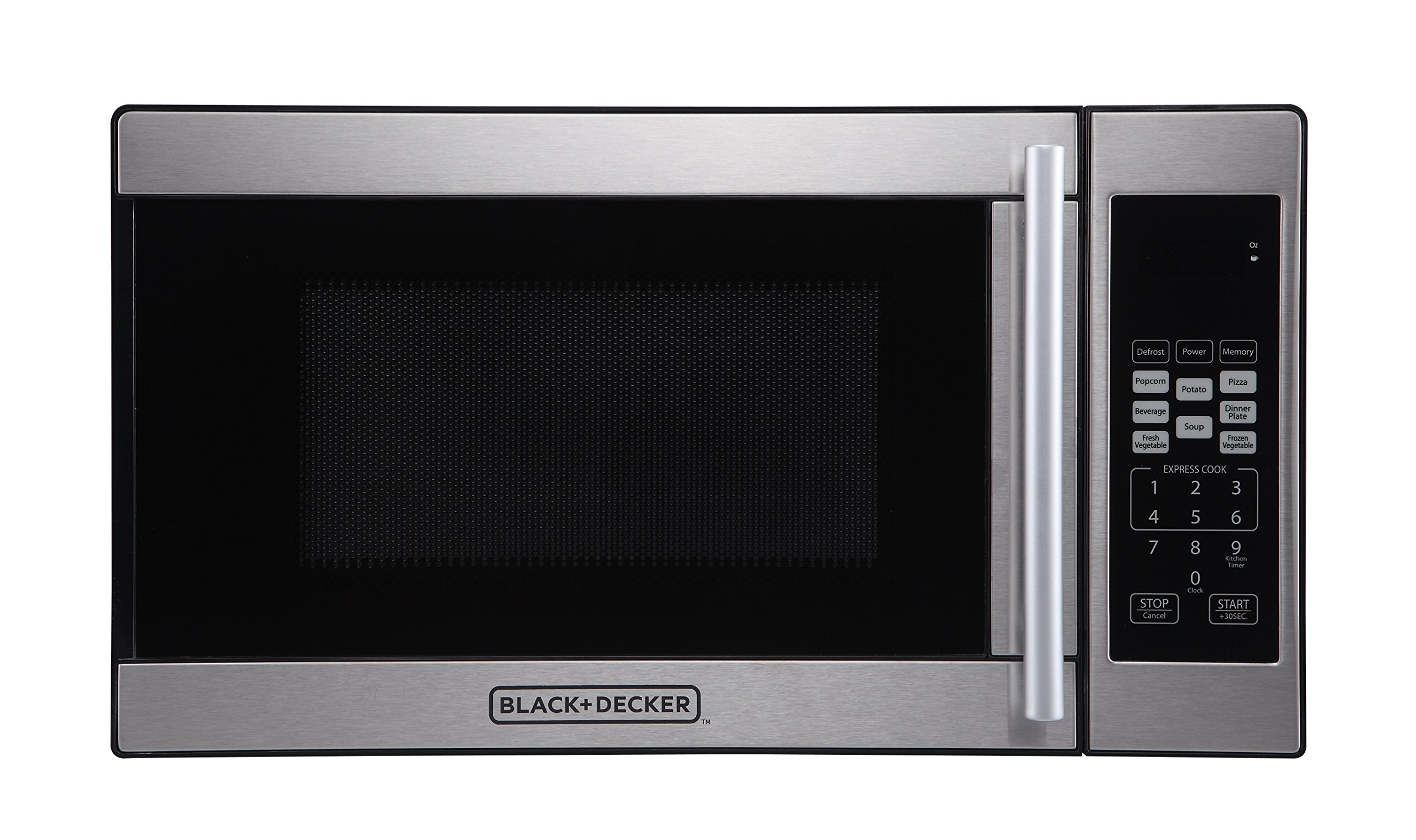 Black + Decker 0.7 Cubic Foot 700 Watt Stainless Steel Microwave with Turntable