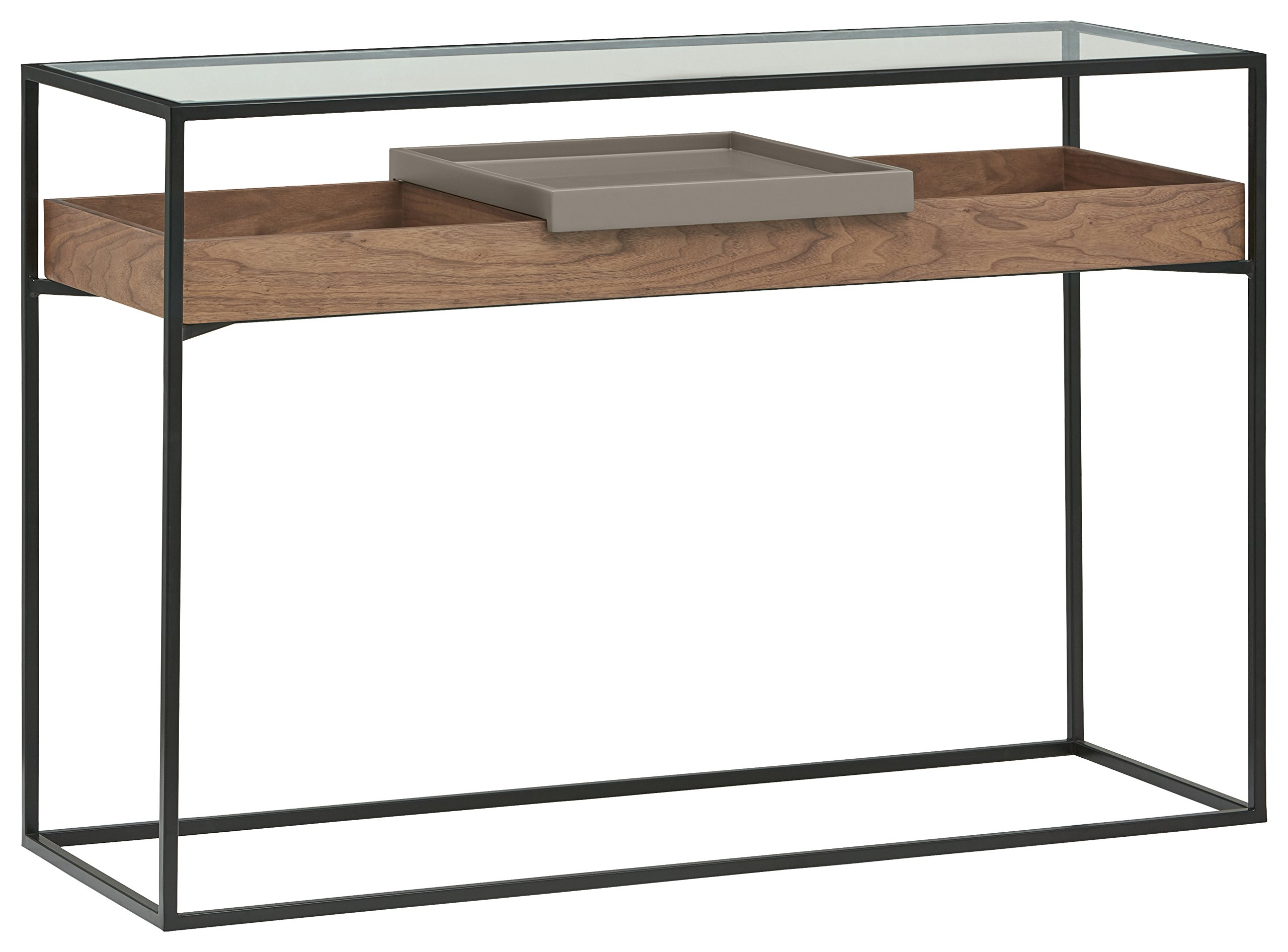 Rivet King Street Industrial Cabinet Media Console Table With Functional Storage, Walnut, Black Metal, Glass