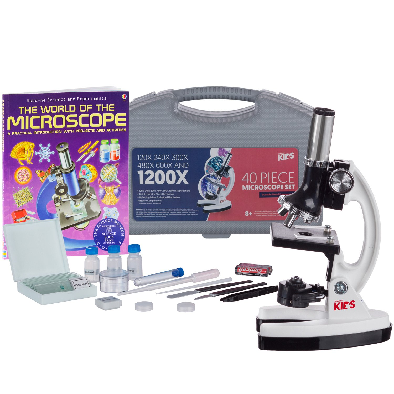 AMSCOPE-KIDS 120X-1200X 48pc Metal Arm Educational Starter Biological Microscope Kit + Book M30-ABS-KT1-W-WM