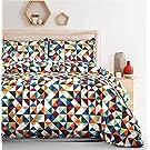 Nimsay Home Diamond 100% Pure Cotton Multi Colour Geometric Pattern Duvet Quilt Cover Bed Linen Set (Double)