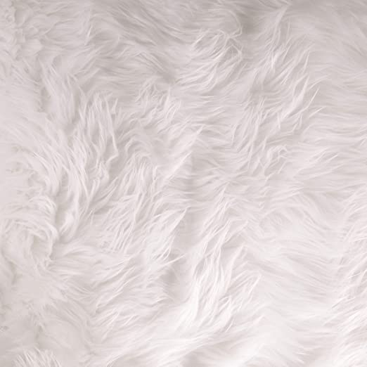 White Faux Fur With Pink Spikes Shaggy Long Pile Fabric By The Yard 60/'/' Width Coats Throws