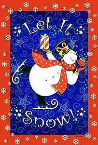 Toland Home Garden Skating Snowman 12.5 x 18 Inch Decorative Colorful Winter Let It Snow Cardinal Bird Garden Flag