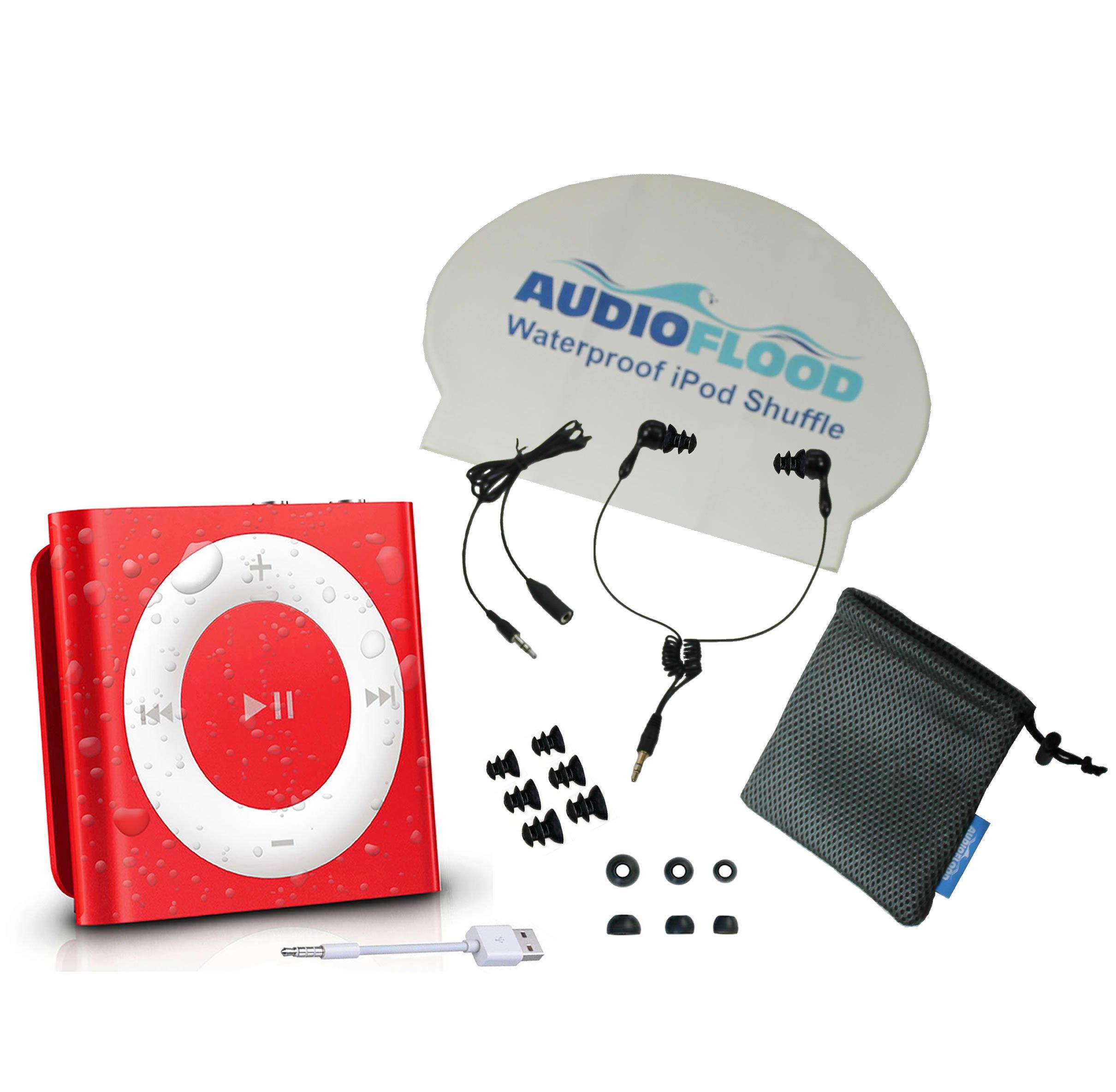 AudioFlood Waterproof Apple iPod Shuffle with True Short Cord Headphones - Red