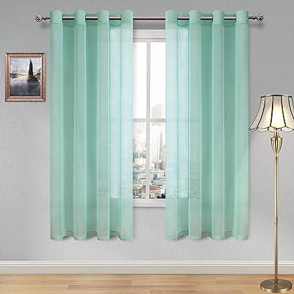 Amazon Com Dwcn Sheer Curtains Faux Linen Sheer Voile Window