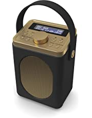 Majority Little Shelford DAB/DAB+ Digital & FM Radio, Portable Wireless, Bluetooth, with Stereo Sound, Dual Alarm Clock/Leather Effect Finish/Mains Powered (Black)