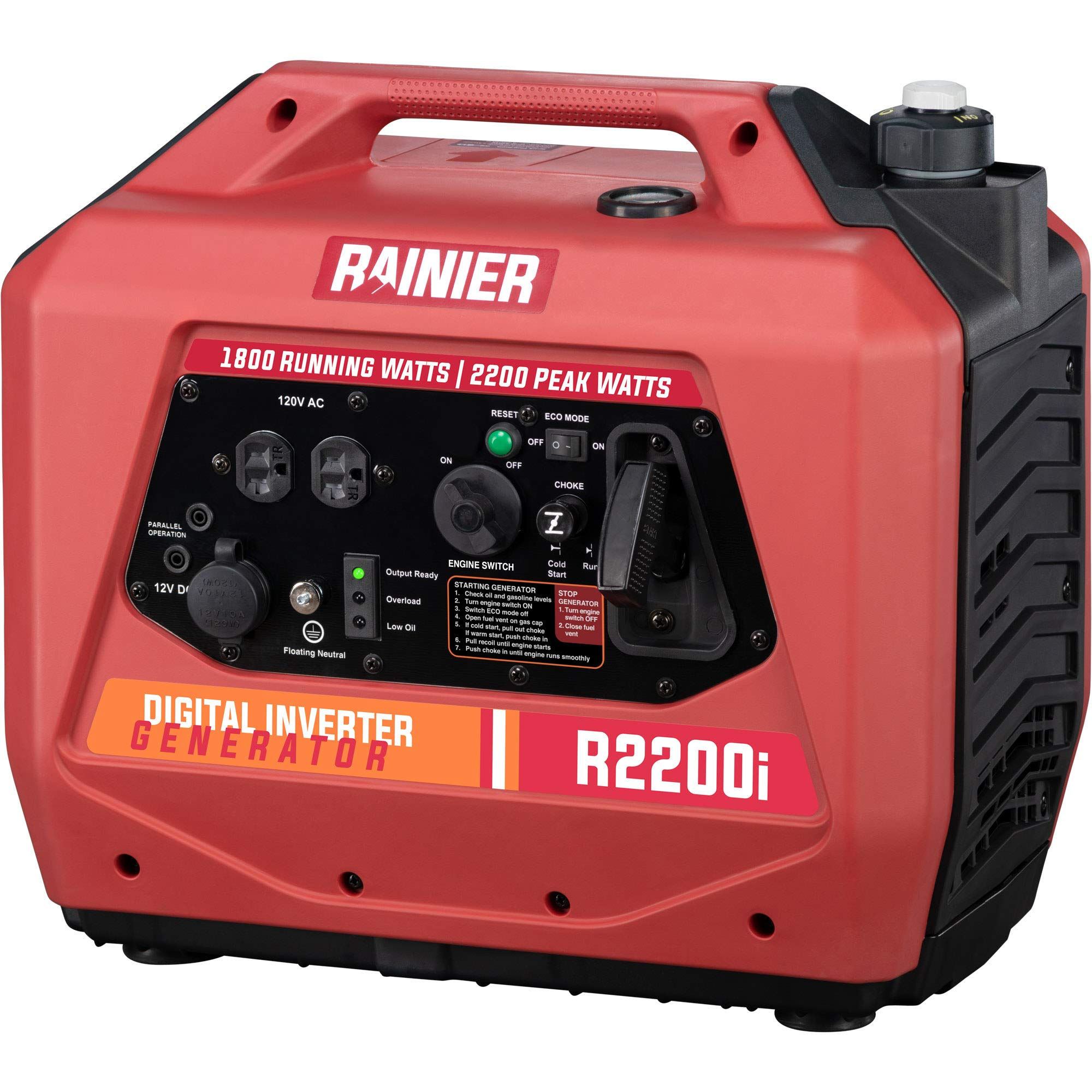 Rainier Outdoor Power Equipment R2200i Super Quiet Portable Inverter Generator 1800 Running & 2200 Peak Watts-Gas…