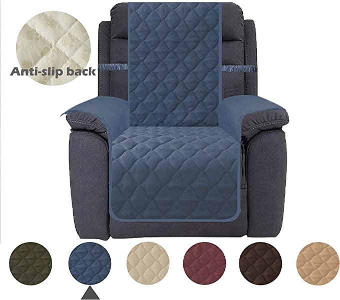 Ameritex Recliner Chair Cover 100% Waterproof Nonslip Quilted Furniture Protector Keep Your Couch Stain, Dirt & Scratches-Free (Pattern2:Navy, Recliner)