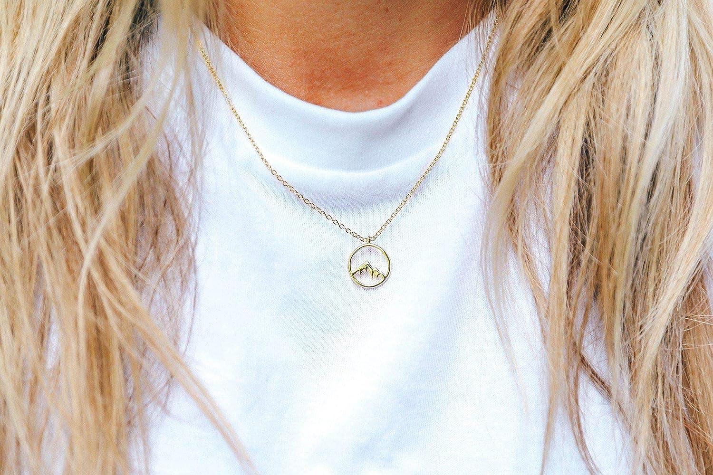 Pura Vida Sierra Gold or Silver Necklace - Mountain Design