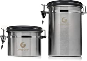 Coffee Canister Duo - Coffee Gator Stainless Steel Coffee Container - Fresher Beans and Grounds for Longer - Date-Tracker, CO2-Release Valve and Measuring Scoop - Large & Small, Silver