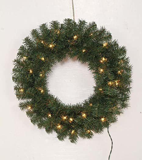 Amazon Com 24 Winter Wreath With Lights Home Kitchen