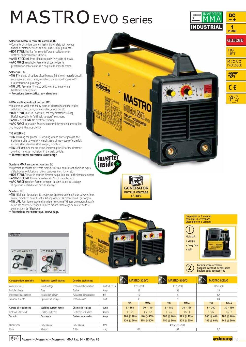 Soldador inverter Mastro 40evo 230/50 - 60 1PH Deca: Amazon.es: Bricolaje y herramientas