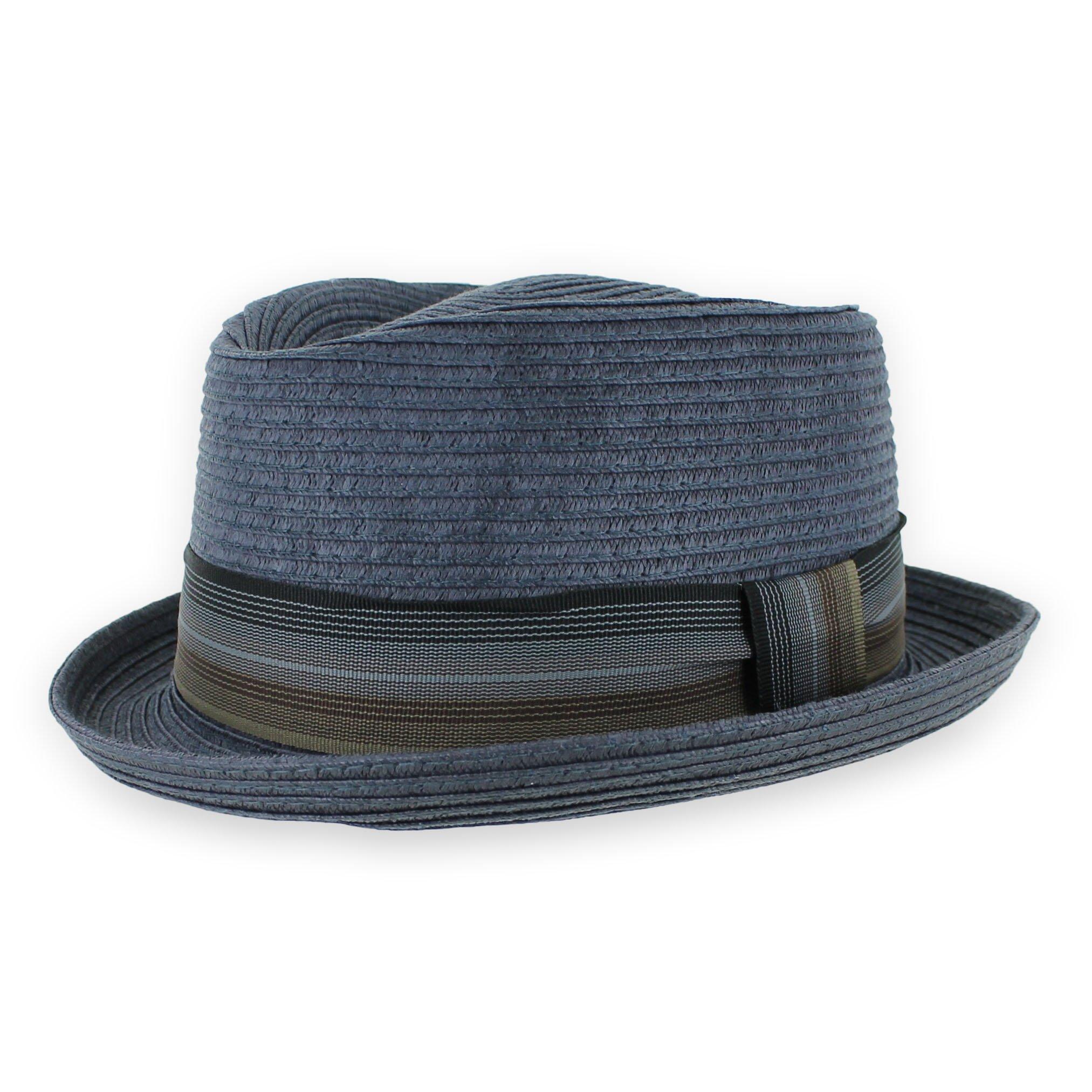 ab2aa075995448 Belfry Men/Women Summer Straw Pork Pie Trilby Fedora Hat in Blue, Tan,