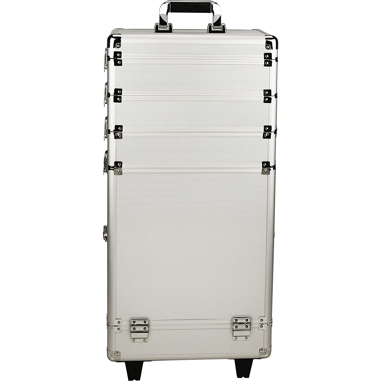 Just Case 4-in-1 Professional Rolling Aluminum Cosmetic Makeup Case and Removable Trays, Silver Dot NG7203DTSL