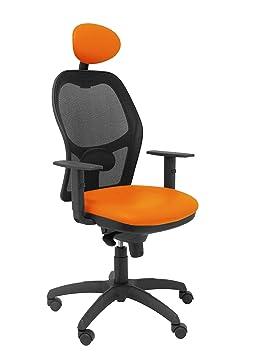 Silla Operativa de oficina Jorquera malla negra asiento similpiel naranja con cabecero fijo: Amazon.es: Hogar