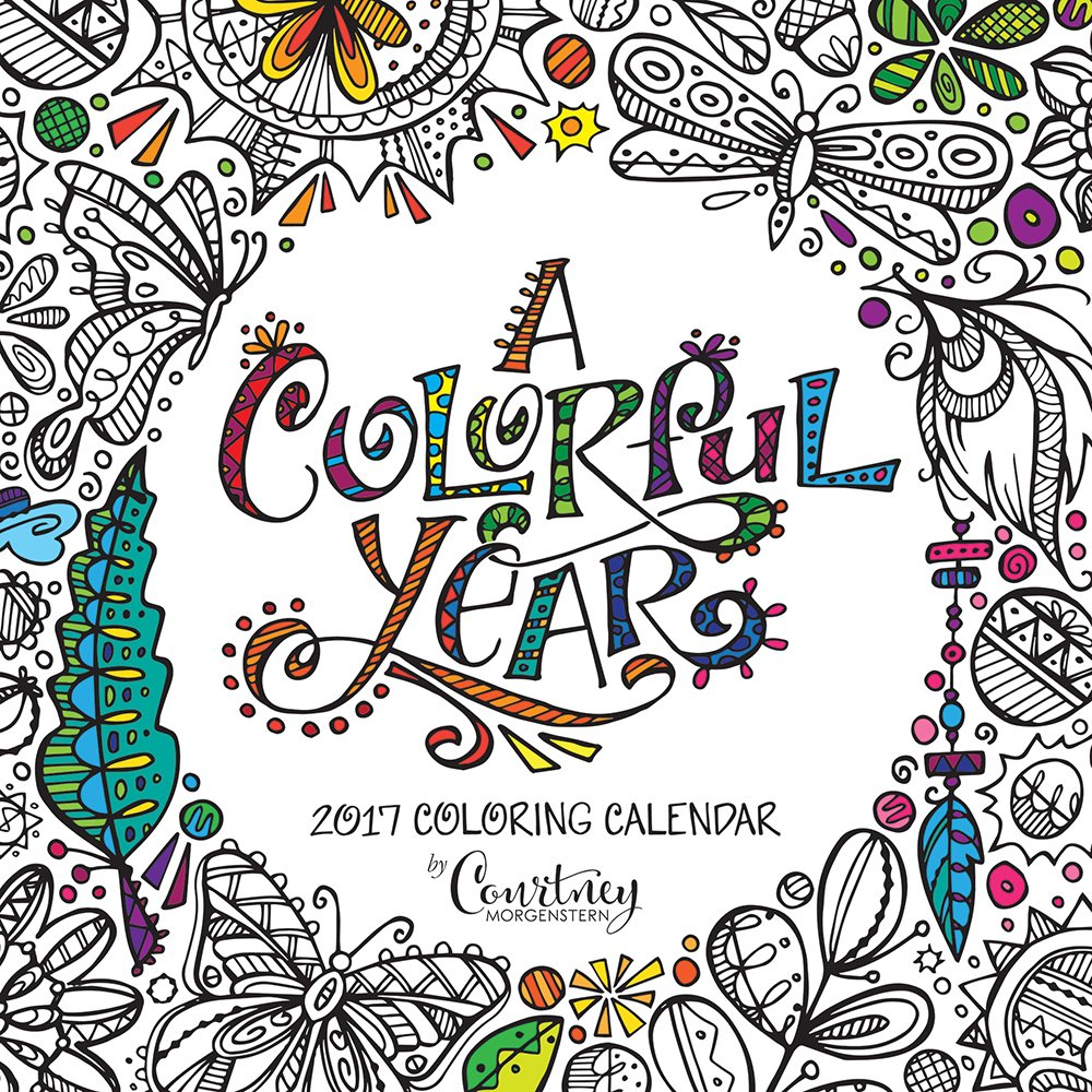Amazon 2017 Monthly Wall Adult Coloring Calendar