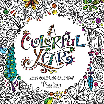 2017 Monthly Wall Adult Coloring Calendar Thick Paper
