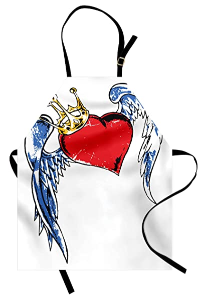 7b2e59e71 Lunarable Tattoo Apron, Grunge Heart Figure with Wings and Crown Forever  Kingdom of Love Symbol