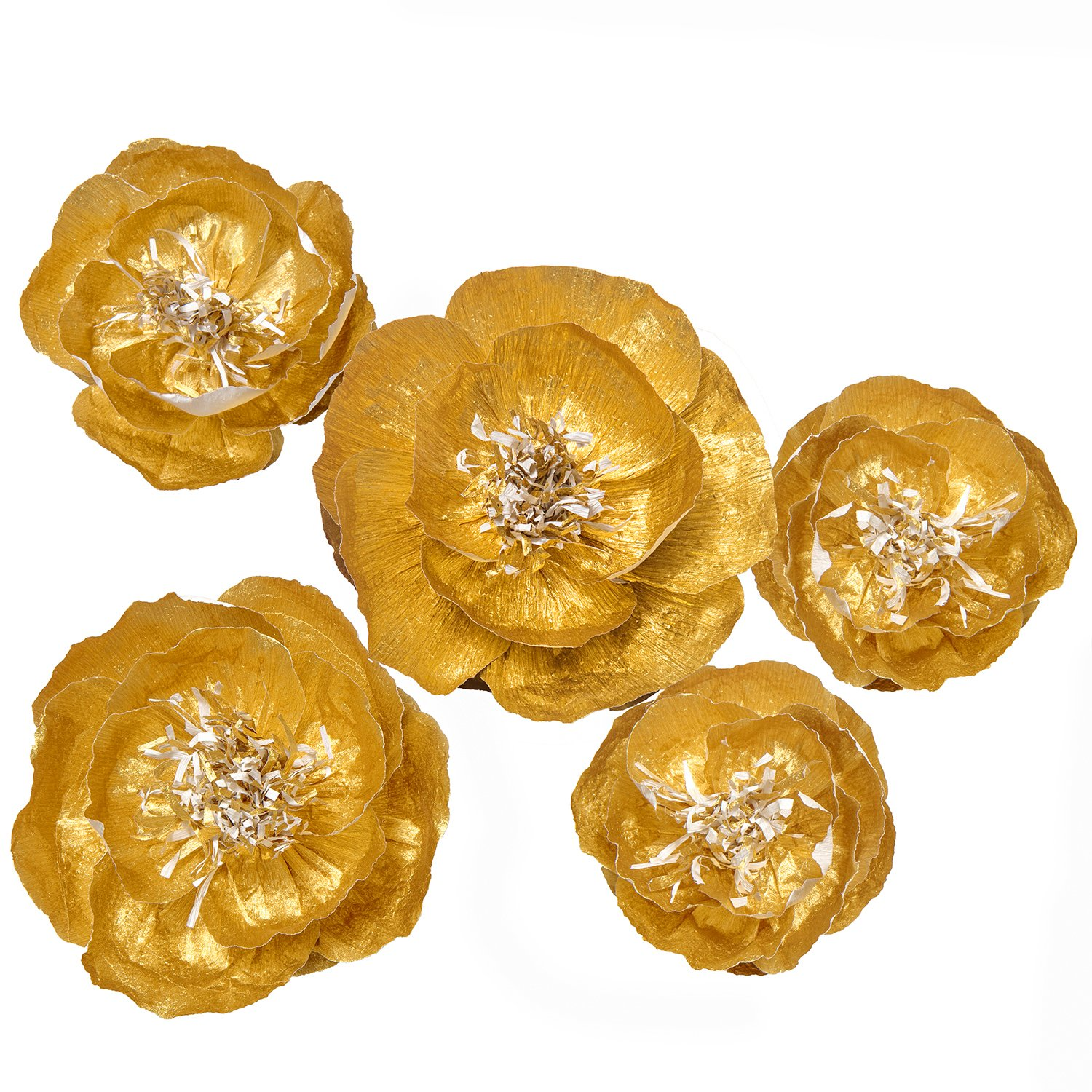 Ling's moment Large Paper Flower, 5 X Gold Flowers, Handcrafted Paper Flowers, Giant Crepe Paper Flowers, Paper Flower Decoration for Wedding Backdrop Nursery Gold Party Bridal Shower Archway Decor