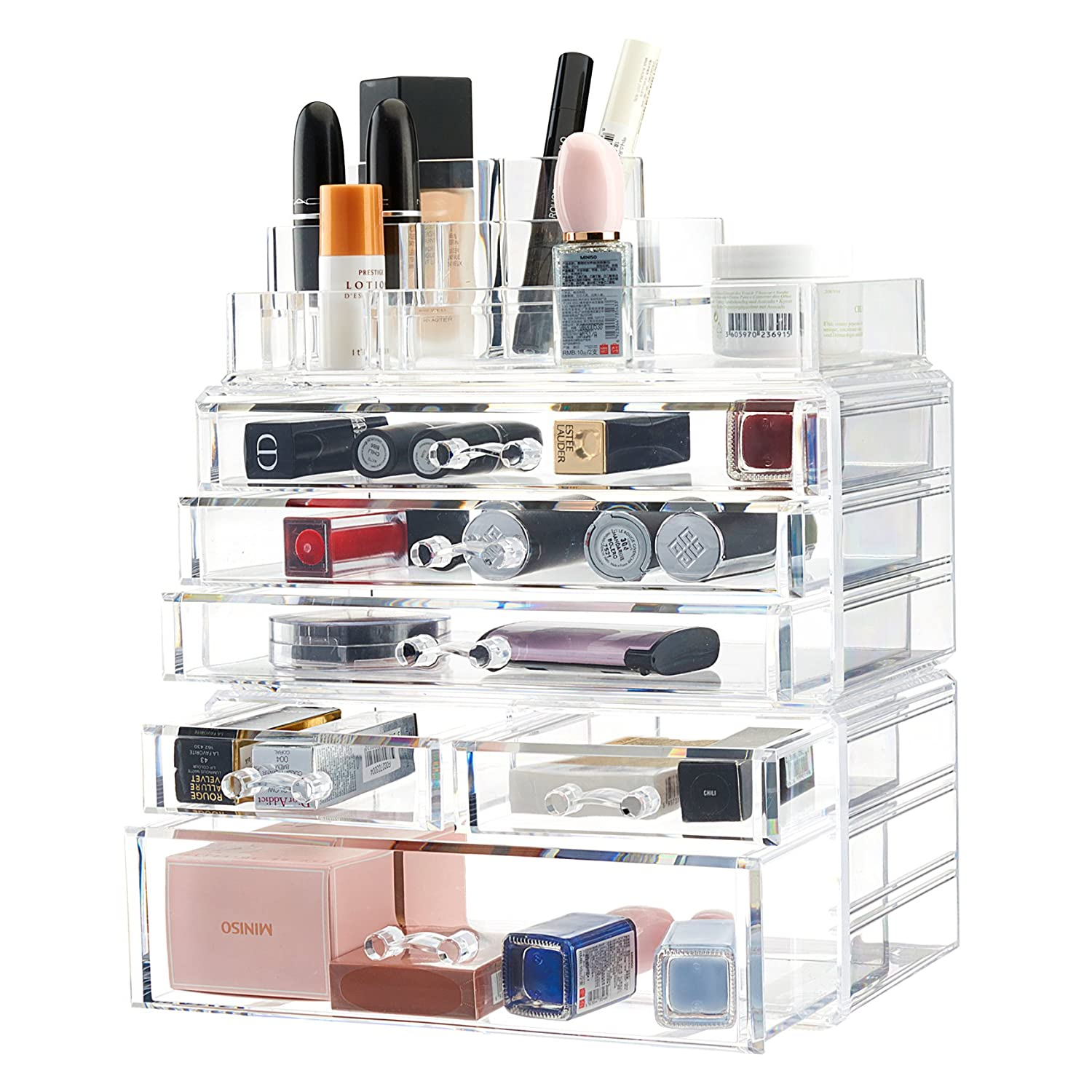 TWING Premium Acrylic Makeup Jewelry Organizer Clear 9.3x5.3x11.3 inches Cosmetic Storage Thick and Crystal Acrylic COMIN18JU090764