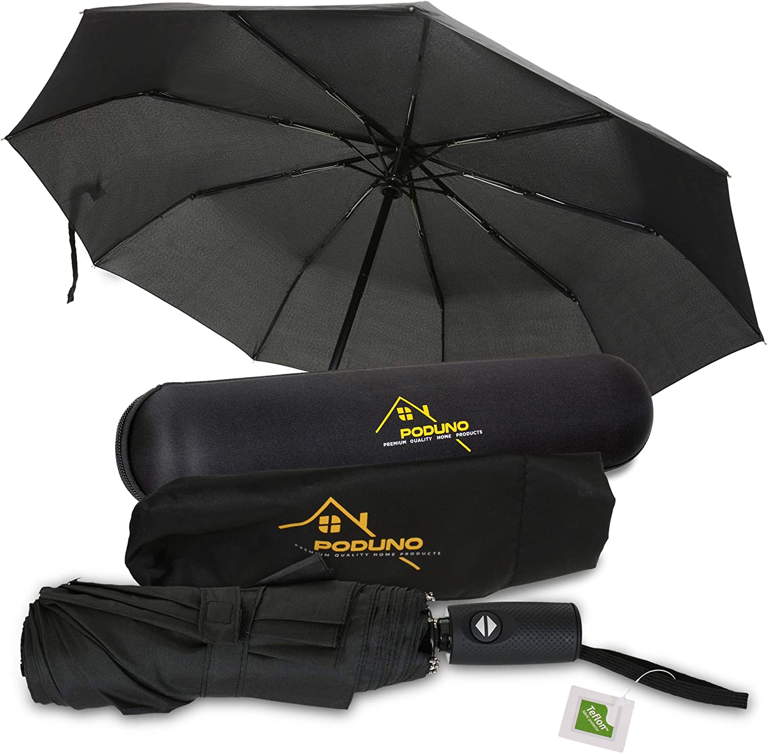 African Icons Automatic Windproof Travel Umbrella Compact Canopy With Black Glue And UV-resistant Coating