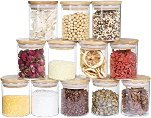 Glass Jars Set of 12, DANALLAN Food Jars with Bamboo Airtight Lids 6oz Small Glass Spice Jars Food Storage Canisters Containers for Home Kitchen, Tea, Sugar, Cookie, Candy, Snack