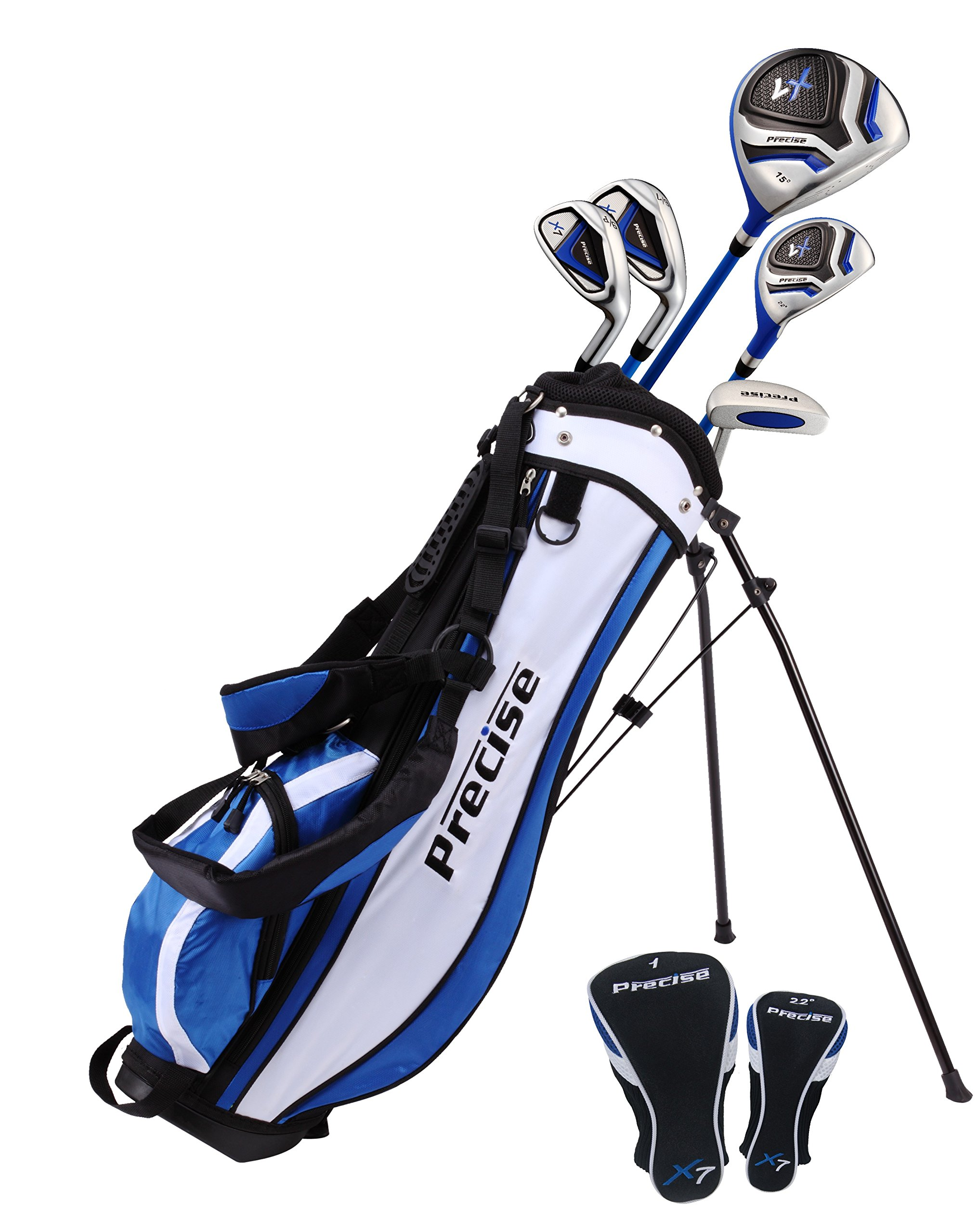 Distinctive Right Handed Junior Golf Club Set for Age 9 to 12 (Height 4'4'' to 5') Set Includes: Driver (15''), Hybrid Wood (22, 2 Irons, Putter, Bonus Stand Bag & 2 Headcovers by Precise