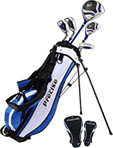 """Distinctive Left Handed Junior Golf Club Set for Age 9 to 12 (Height 4'4"""" to 5'), Left Handed Only, Set Includes: Driver (15""""), Hybrid Wood (22, 2 Irons, Putter, Bonus Stand Bag & 2 Headcovers"""