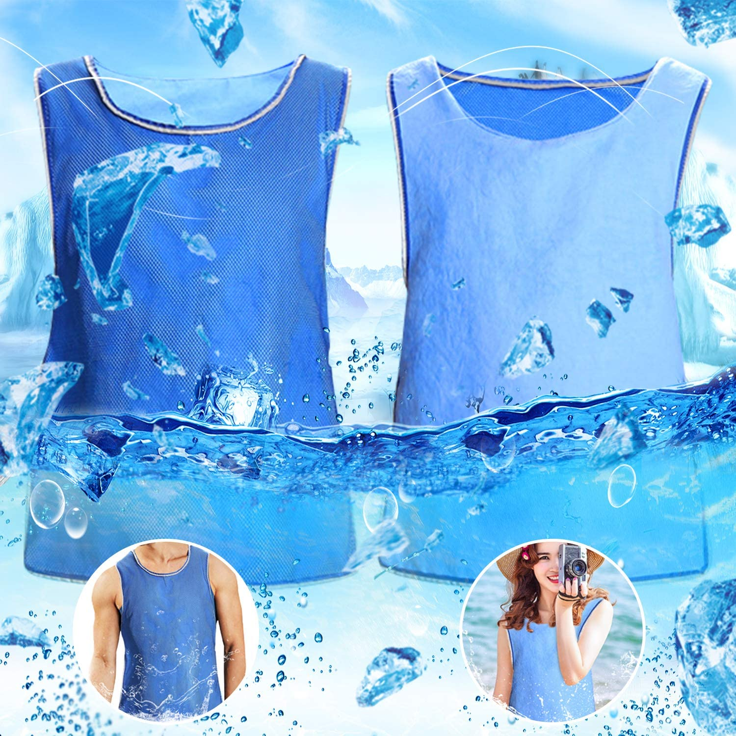 Evaporative Cooling Vest for Men Reversible Ice Cooling Vest for MS Working PVA Sports Sunstroke High Temperature Prevention Clothing (Blue)