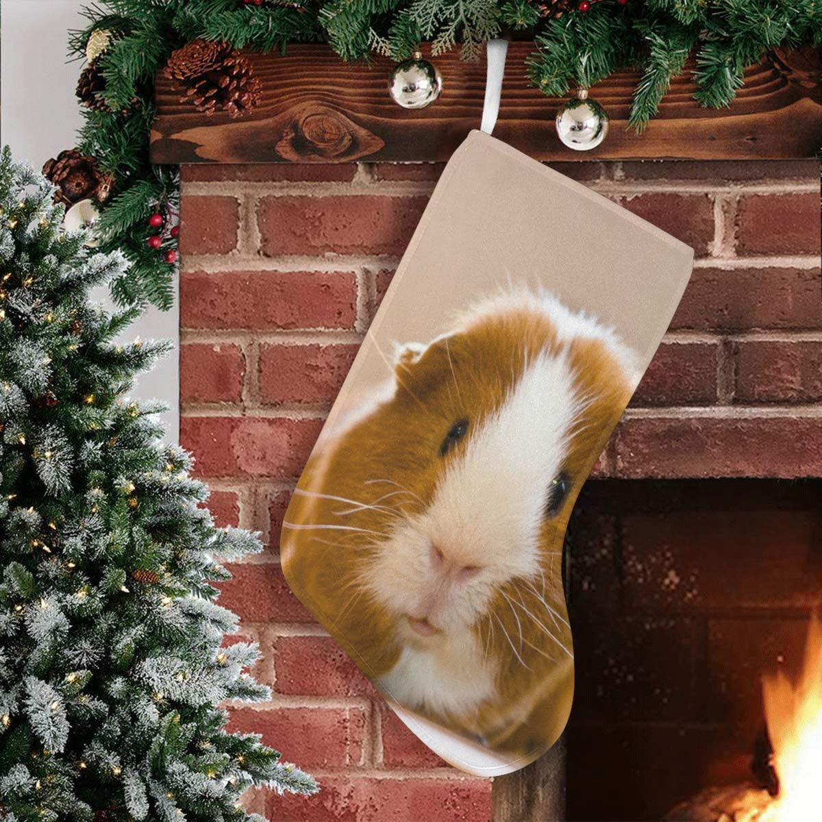 INTERESTPRINT Cool Animal White Polar Bear Christmas Stocking 17.52 Inches Christmas Decorations and Party Accessory for Kids Women Men Boys Girls