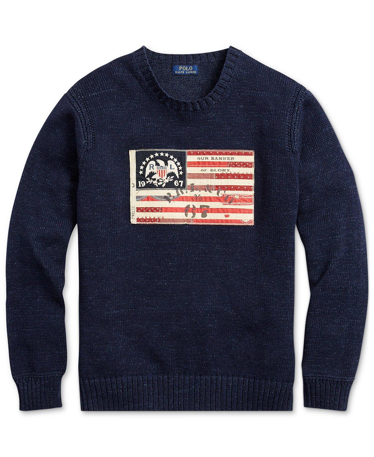 Polo Ralph Lauren Men's Flag-Patch Cotton Sweater, Summer Navy, Medium