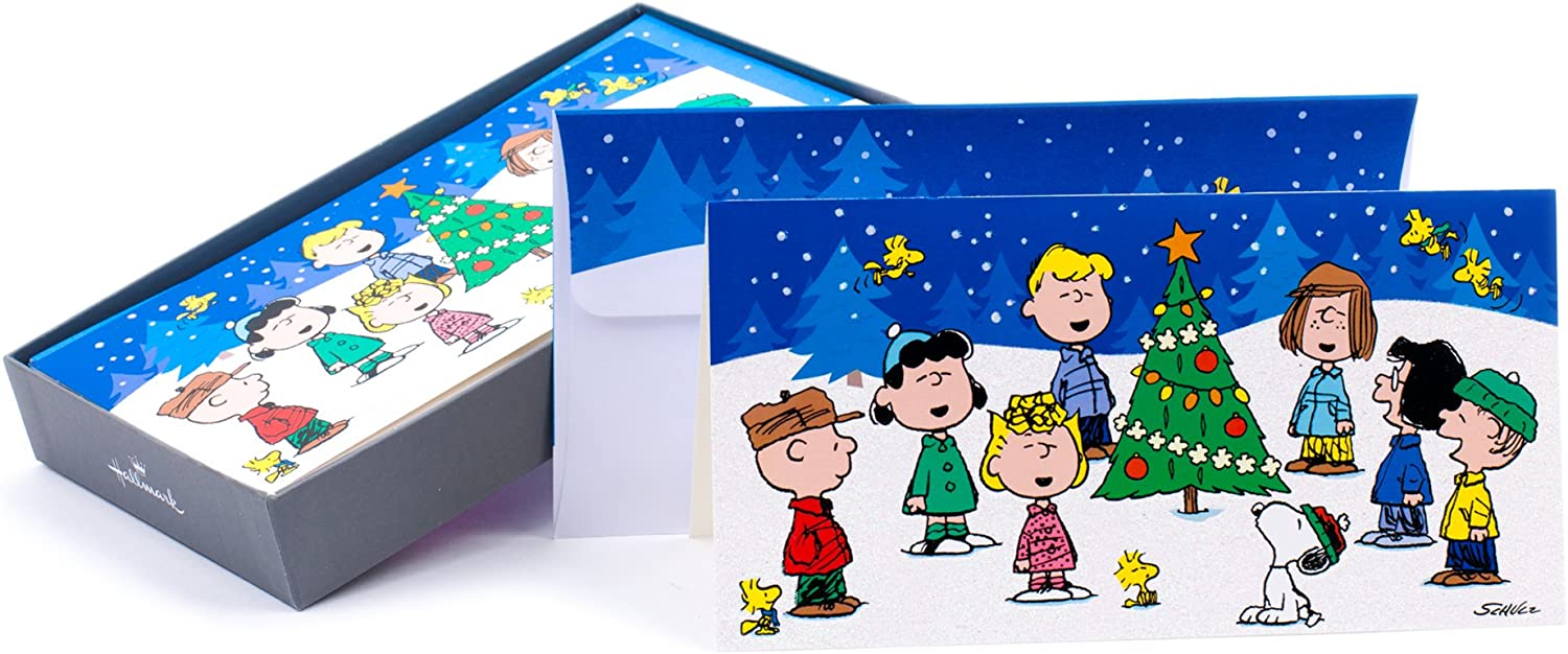Amazon Com Hallmark Boxed Christmas Cards Peanuts Gang 16 Cards And 17 Envelopes Office Products