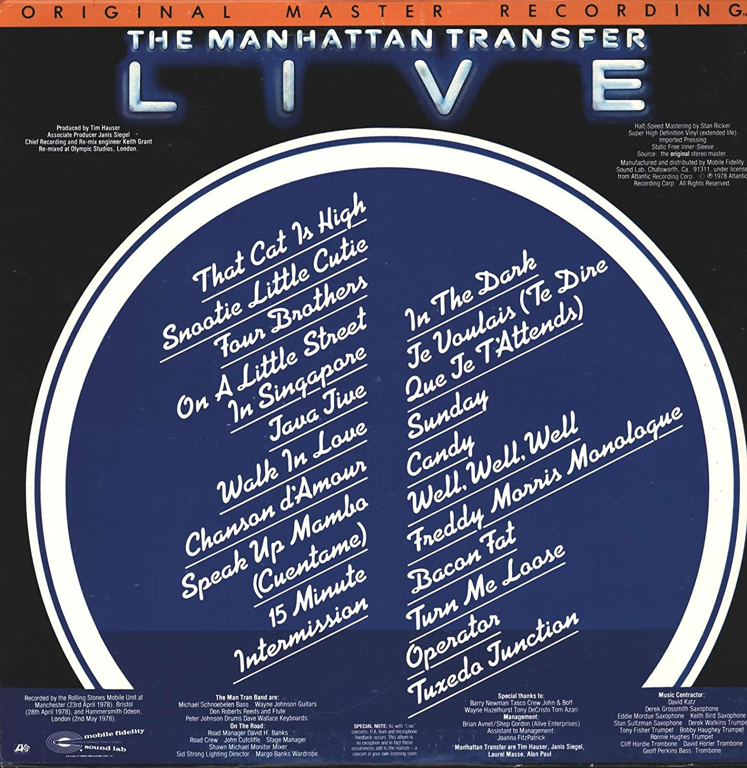 Live Vinyl Lp The Manhattan Transfer Amazonde Musik