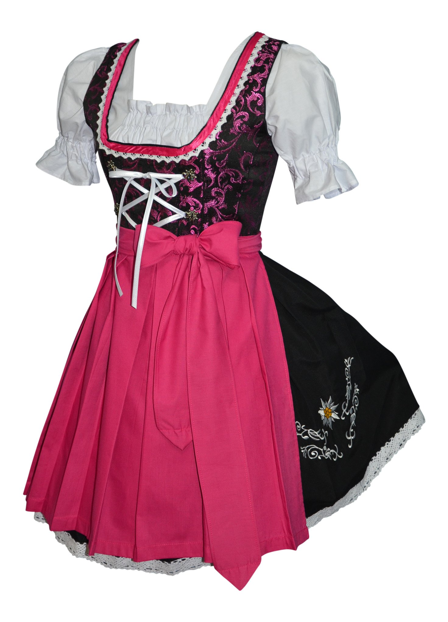 3-piece Short German Oktoberfest Dirndl Dress Black & Pink (14)