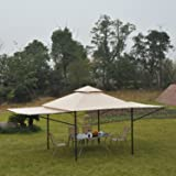 Outsunny 10' x 10' Steel Outdoor Garden Gazebo with Extendable Sides - Black/Beige