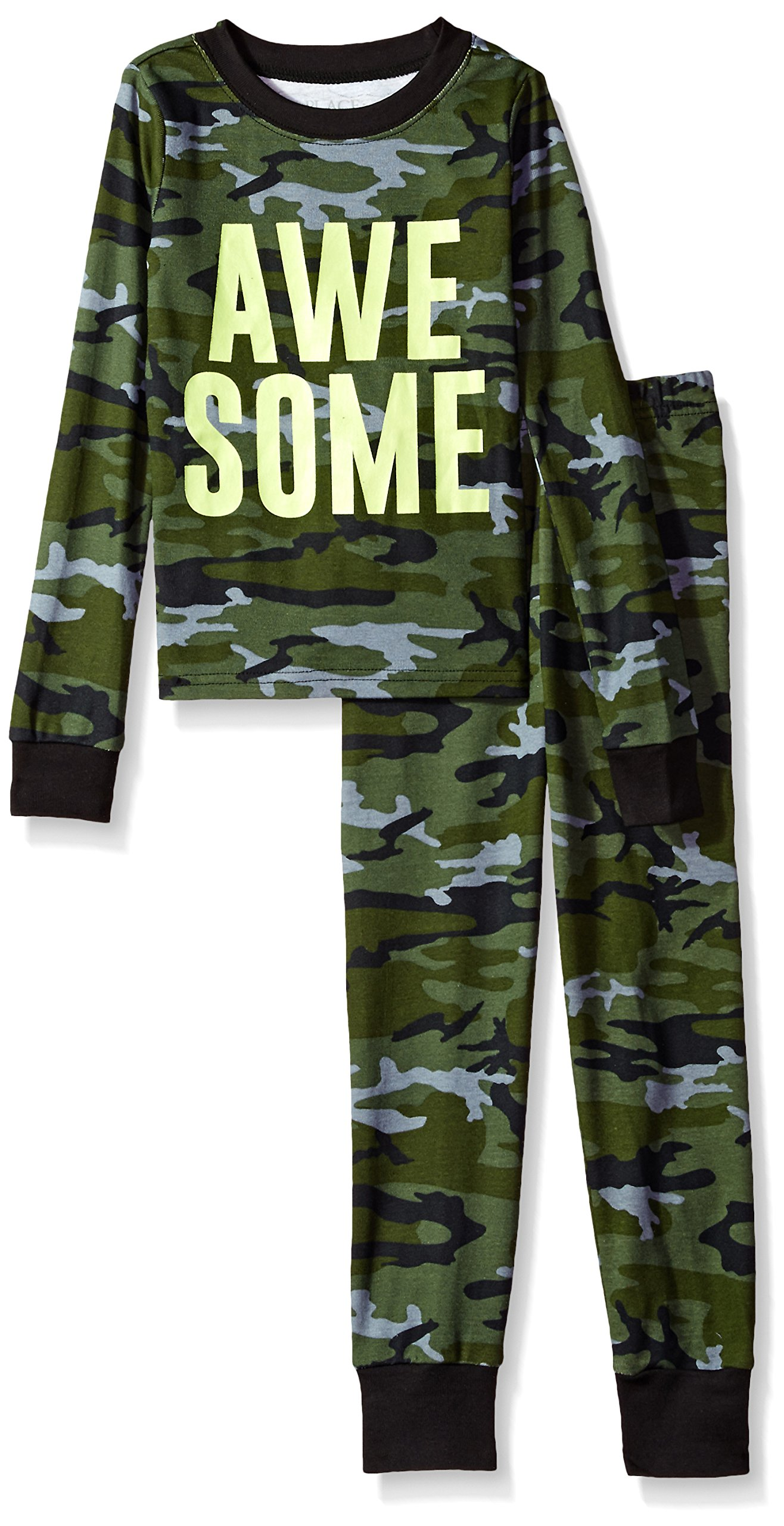 The Children's Place Big Boys' Awesome Camoflauge 2 Piece Sleepwear Set, Truly Olive 92207, 5