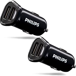 Philips 12W USB Car Charger, 2 Ports, 2 Pack, For iPhone 12/11/XS/XR/X/8, iPad Pro/Air/Mini, Samsung Galaxy S21/S10/S9/Plus, Google Pixel 5/C/3/2/XL, DLP2452/37