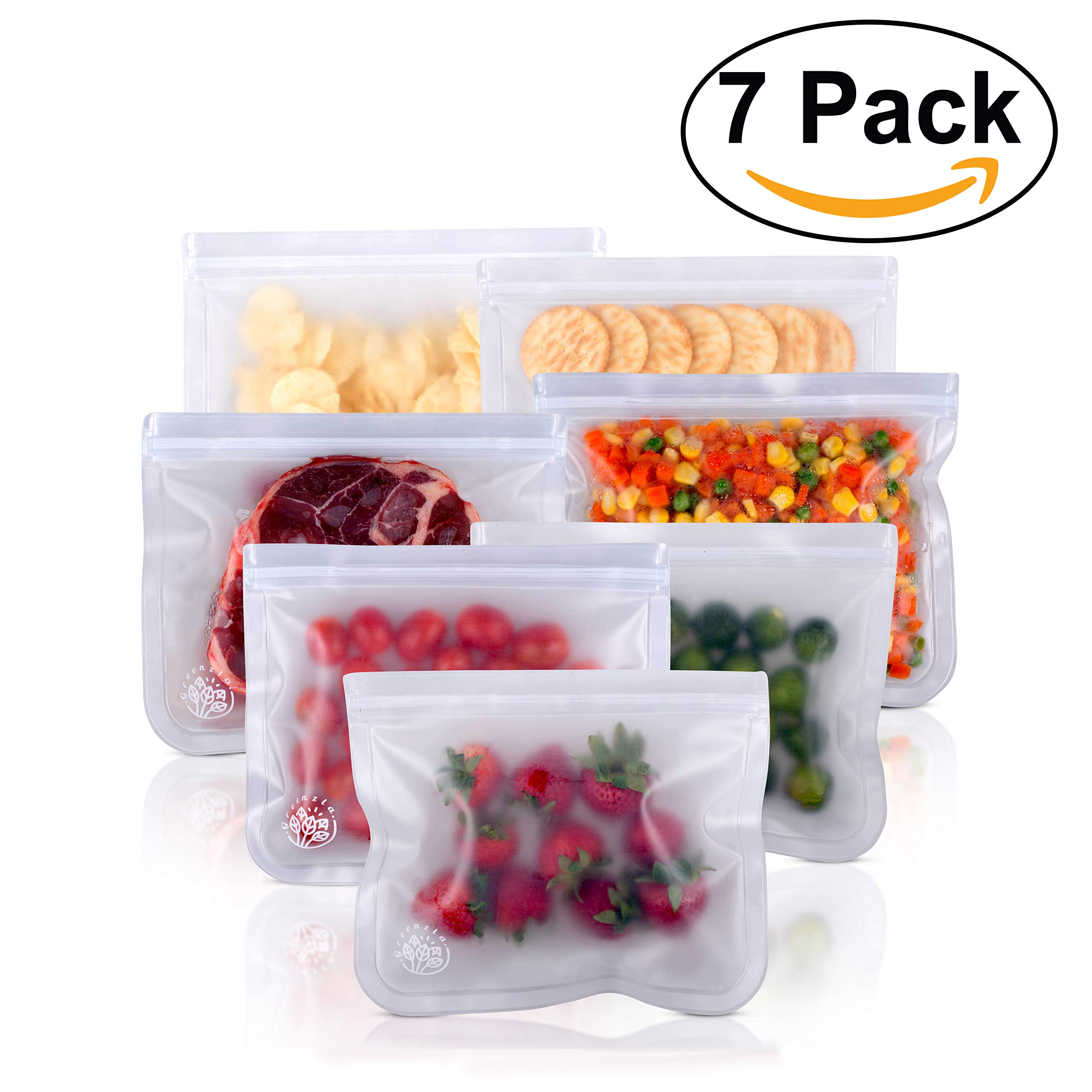 Greenzla Reusable Sandwich Bags (7-Pack) - FDA Approved Reusable Ziploc Lunch Bag - PEVA Storage Bag for Produce, Food and Kitchen Organization - Leakproof Snack Bags Meal Containers - 7 Large Bags