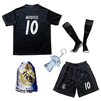 new style 2f994 1c91f GamesDur 2018/2019 Real Madrid Luka Modric #10 Away Black Football Soccer  Kids Jersey & Short & Sock & Soccer Bag Youth Sizes