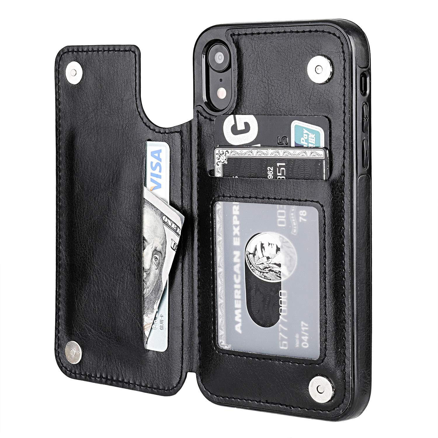 iPhone XR Wallet Case with Card Holder,OT ONETOP Premium PU Leather Kickstand Card Slots Case,Double Magnetic Clasp and Durable Shockproof Cover for iPhone XR 6.1 Inch(Black) by OT ONETOP