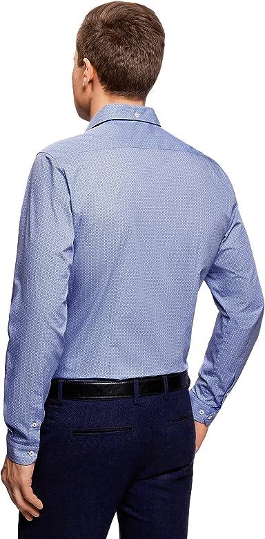 oodji Ultra Hombre Camisa Entallada con Estampado Gráfico, Azul ...
