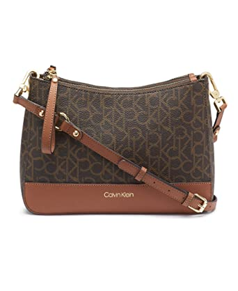 f3e72b48a7 Calvin Klein Sonoma Signature Monogram Messenger Crossbody,  brown/khaki/luggage saffiano