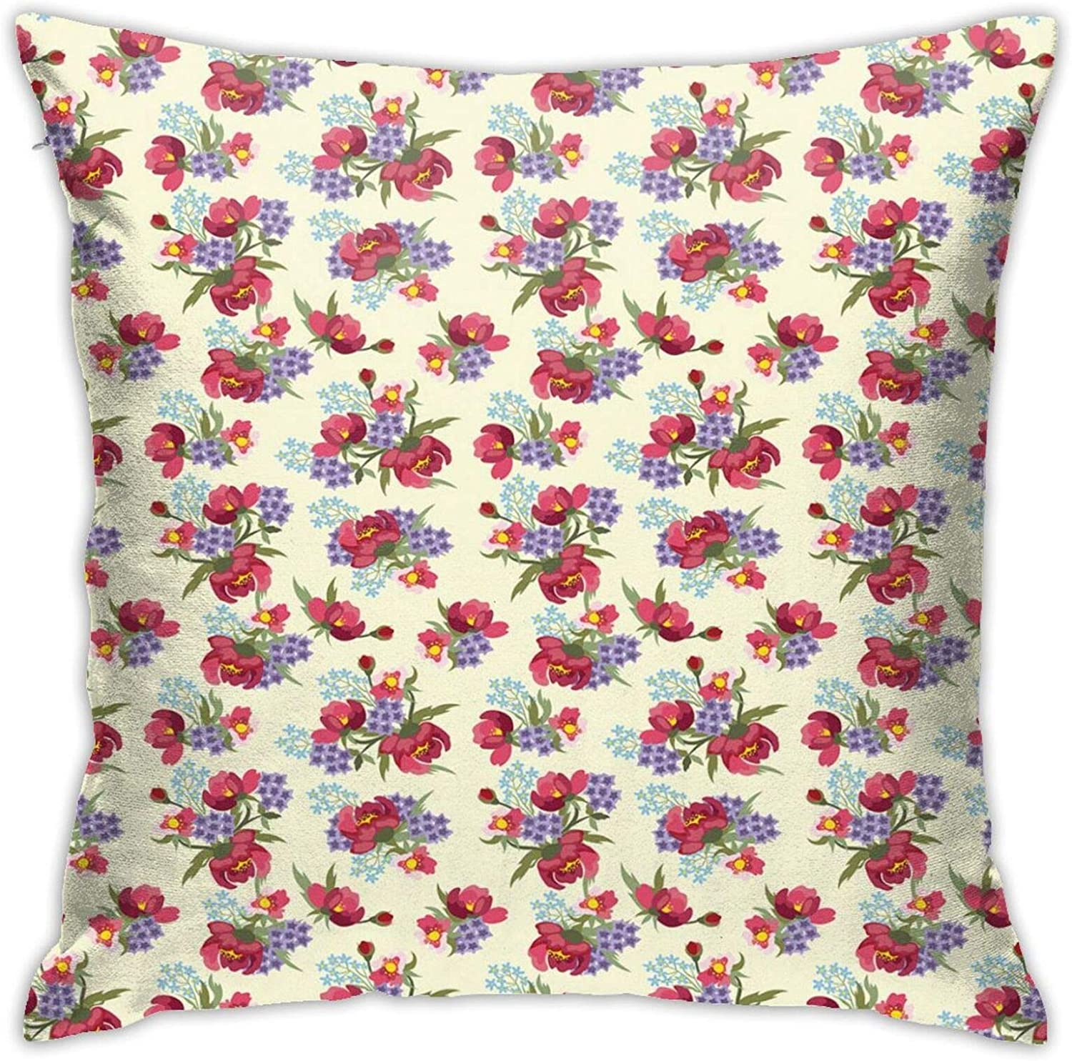 feprena Throw Pillow Cushion Covers Decorative,Flower Branches of Shabby Garden Peony Petunia Blossoms English Garden,Pillow case Cushion Cases for Home Sofa Bedroom,18