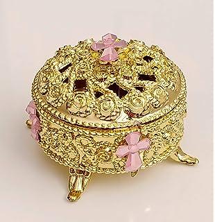 12 Plastic Gold Jewelry Box Favors Pink Rhinestone Cross, Joyero plastico para Recuerdos, Jewelry