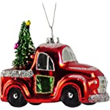 Caffco Red Tree Farm Truck Glitter Hanging Christmas Ornament
