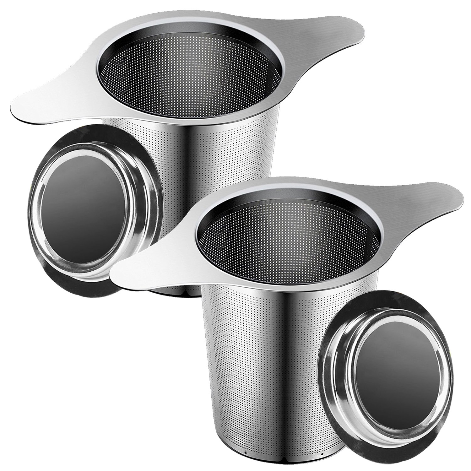 Tea Infuser, 304 Stainless Steel Water Filter Tea Strainer with Double Handles for Hanging on Teapots, Mugs, Cups to steep Loose Leaf Tea and Coffee Maker-2 Packs