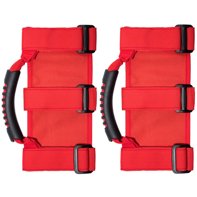 Roll Bar Red wenwen top 4 x Roll Bar Grab Handles Grip Handle For Jeep Wrangler YJ TJ JK JK JL JLU Sports Sahara Freedom Rubicon X /& Unlimited 1955-2018