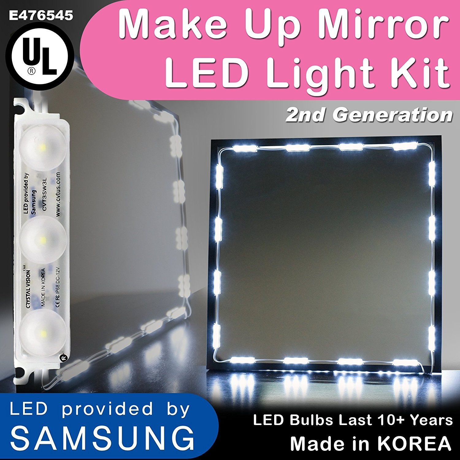 Crystal Vision Hollywood Style Makeup Mirror LED Light Kit Provided by Samsung for Cosmetic Mirror Vanity Mirror w/Dimmer Controller (75 LED Bulb / 12.5ft) [Slim Cool White]