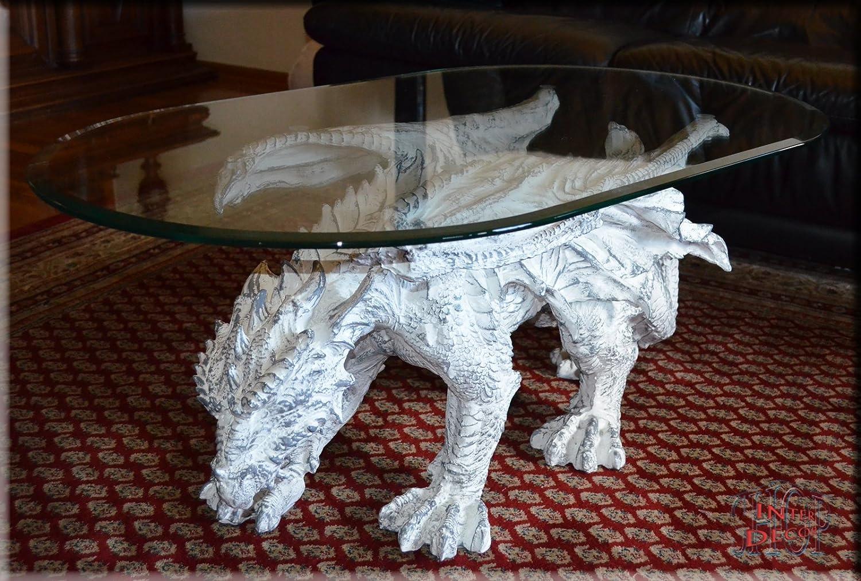 Designer Couchtisch Dragon Gothic White ArtDeco Wohnzimmertisch Tisch Glastisch Amazonde Kuche Haushalt